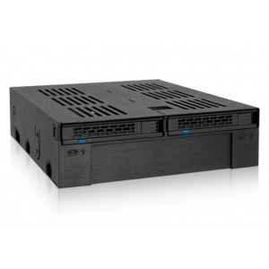 "IcyDock ExpressCage MB322SP-B Rack Mobile 2x2.5"" SATA/SAS HDD/SSD 5.25"" avec Emplacement 3.5"""