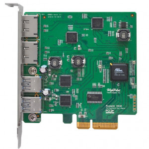 Highpoint RocketU 1144E - Carte PCI 2 x USB 3.0 et 2 x eSATA 6Gb/s externes - PCI-Express 2.0 x4 - Mac/Win/Linux/FreeBSD