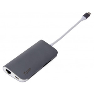 Dock USB type C intégrant 1x HDMI, 3x USB 3.0, Ethernet, SD/MicroSD, 1x USB-C, Couleur space gray