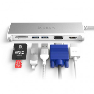 ADAM - CASA HUB A03 Grey - USB 3.1 type C 5 ports HUB - HDMI 2K/30Hz, SD CARD, VGA 60Hz, USB 3.1 x 2