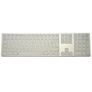 Clavier CTLR APPLE AZERTY Bluetooth corps aluminium, touches blanches - Aluminium
