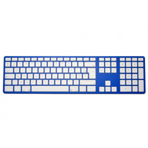 Clavier CTLR APPLE AZERTY Bluetooth corps bleu, touches blanches - 12