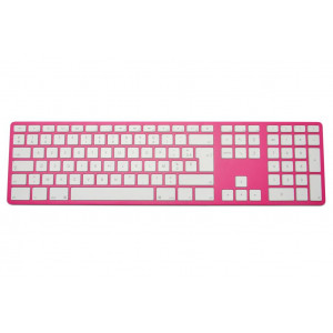 Clavier CTLR APPLE AZERTY Bluetooth corps fuschia, touches blanches - Fuschia